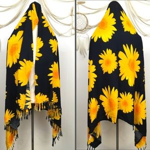 Sunflower oversized scarf shawl sarong fringe edge